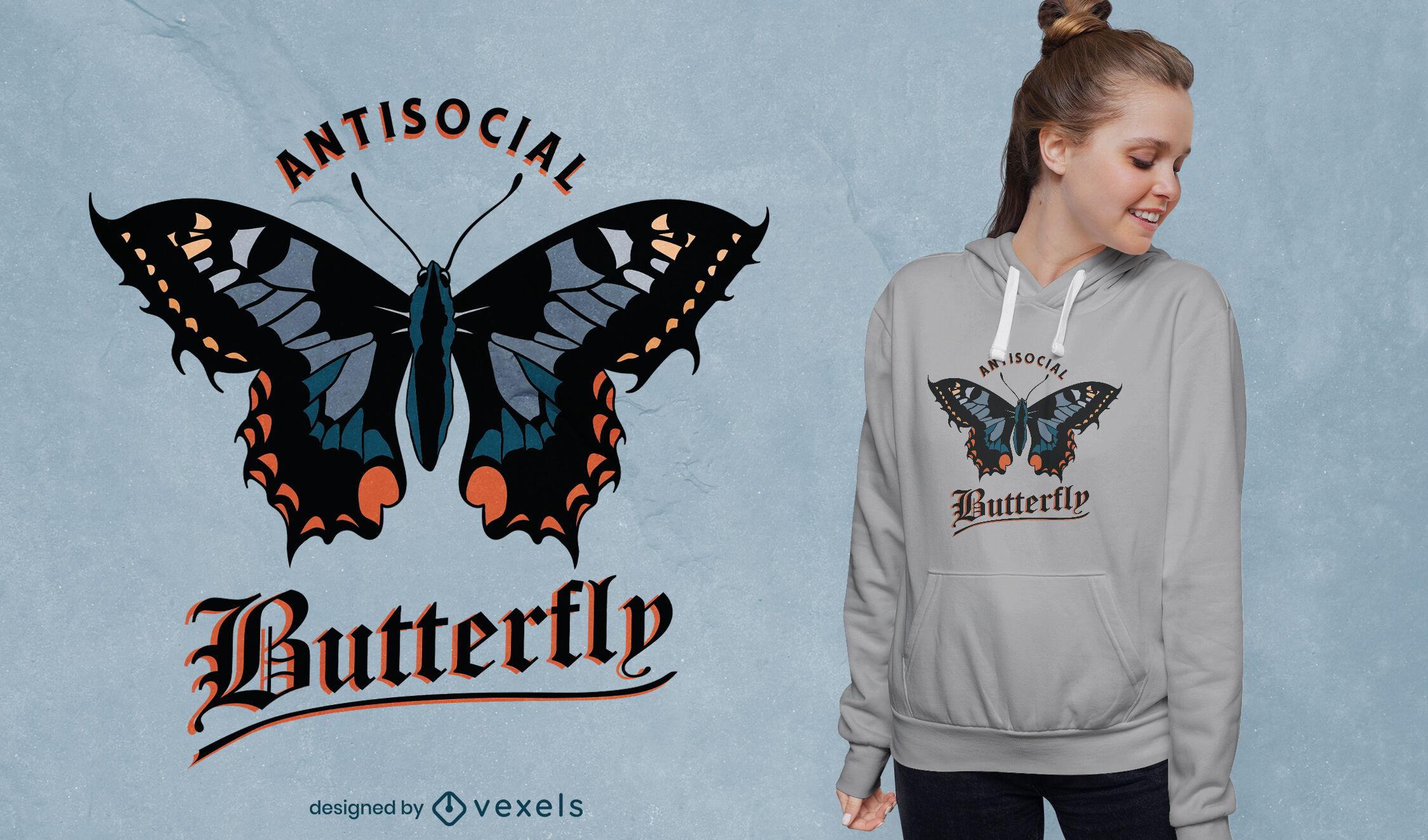 Gran dise?o de camiseta de mariposa antisocial.