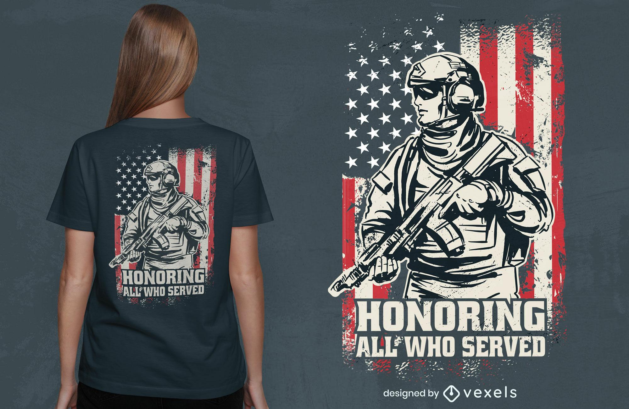 Design de camisetas para soldados dos EUA do Dia dos Veteranos