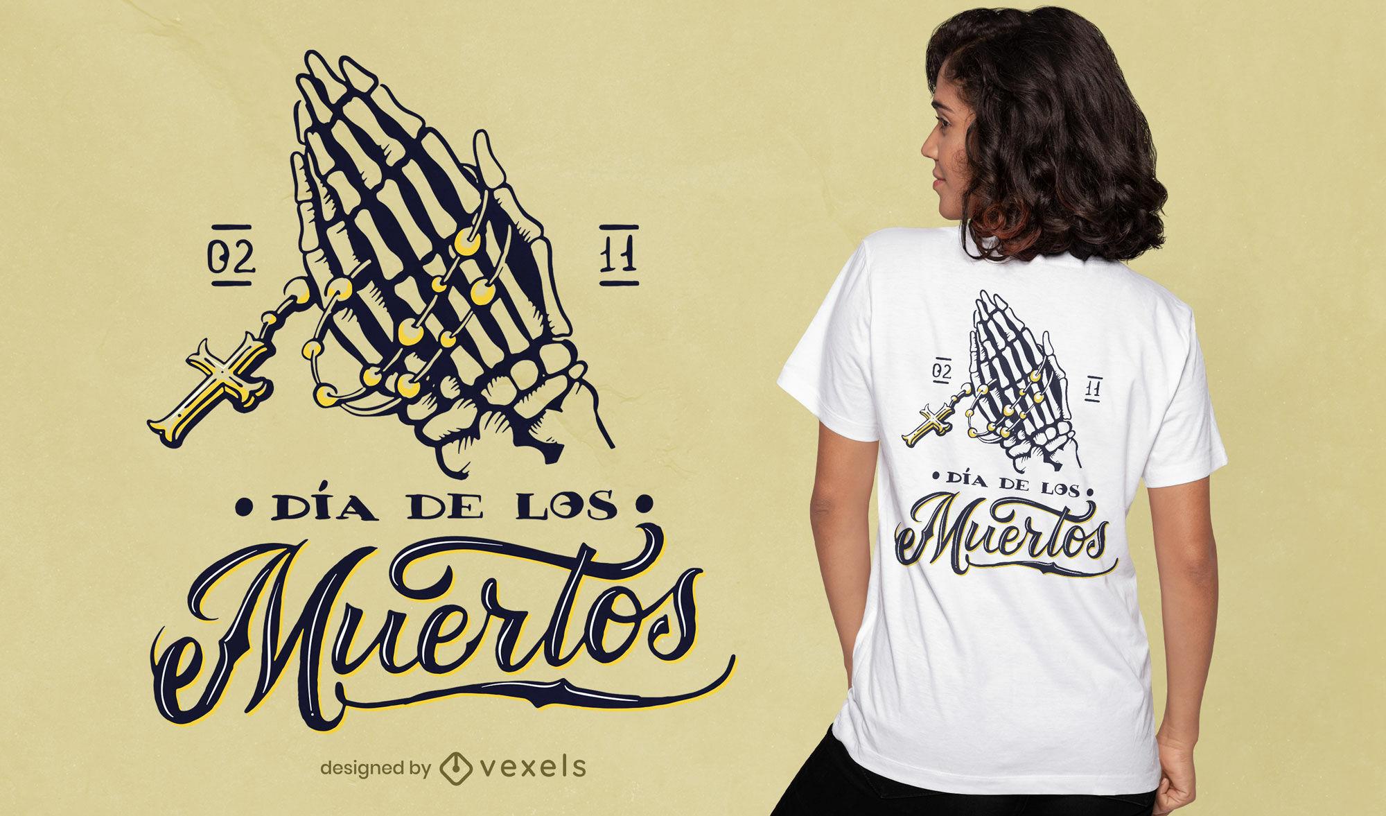 Skeletthände, die gekreuztes T-Shirt-Design halten