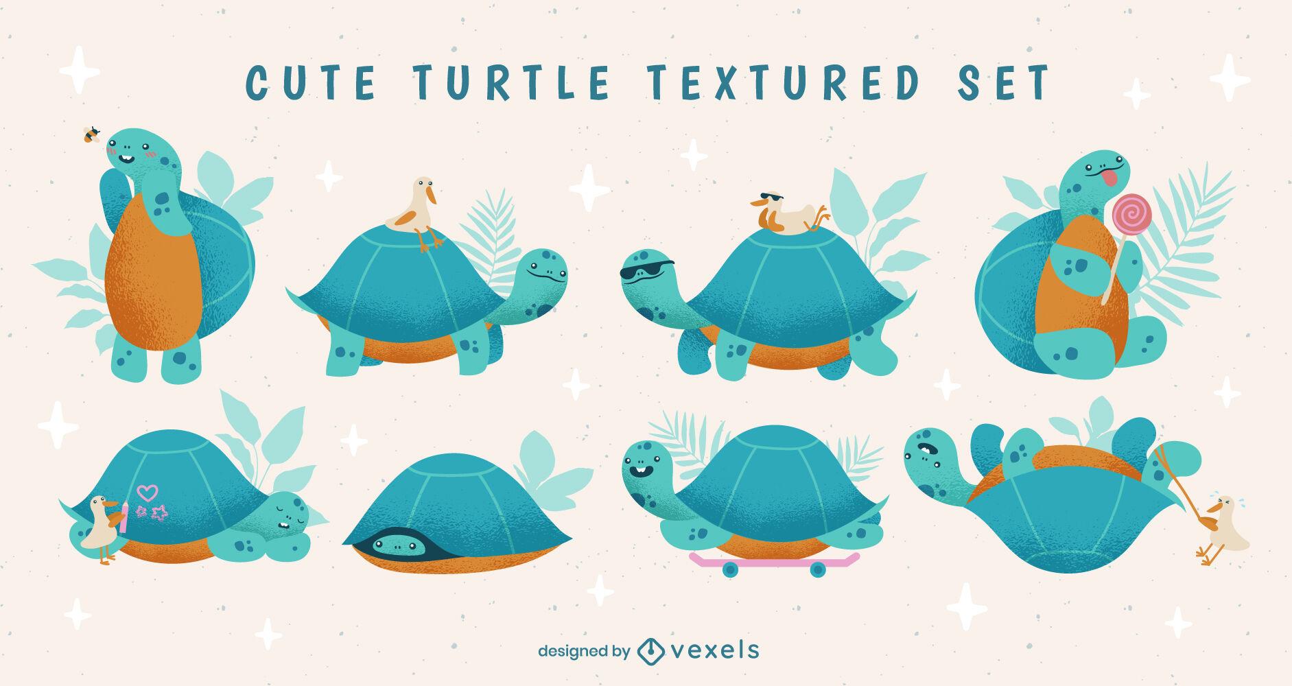 Land turtle cute animal textured set