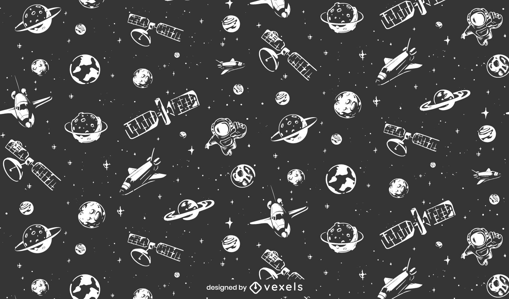 Dise?o de patrones espaciales de planetas y sat?lites.