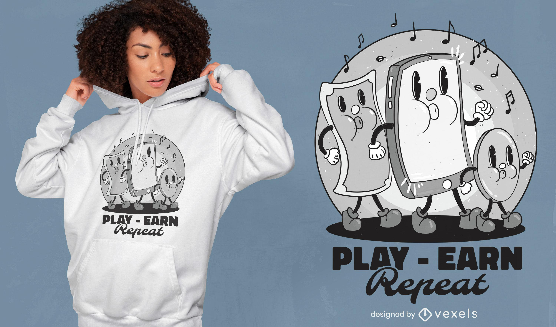 Diseño de camiseta de dibujos animados de baile de billetes y monedas.