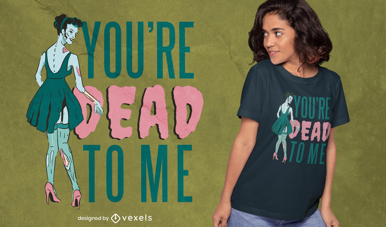 Fancy zombie woman in dress t-shirt design
