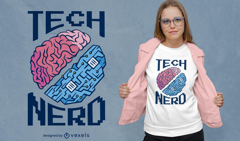 Dise?o de camiseta de tecnolog?a cerebral digital.