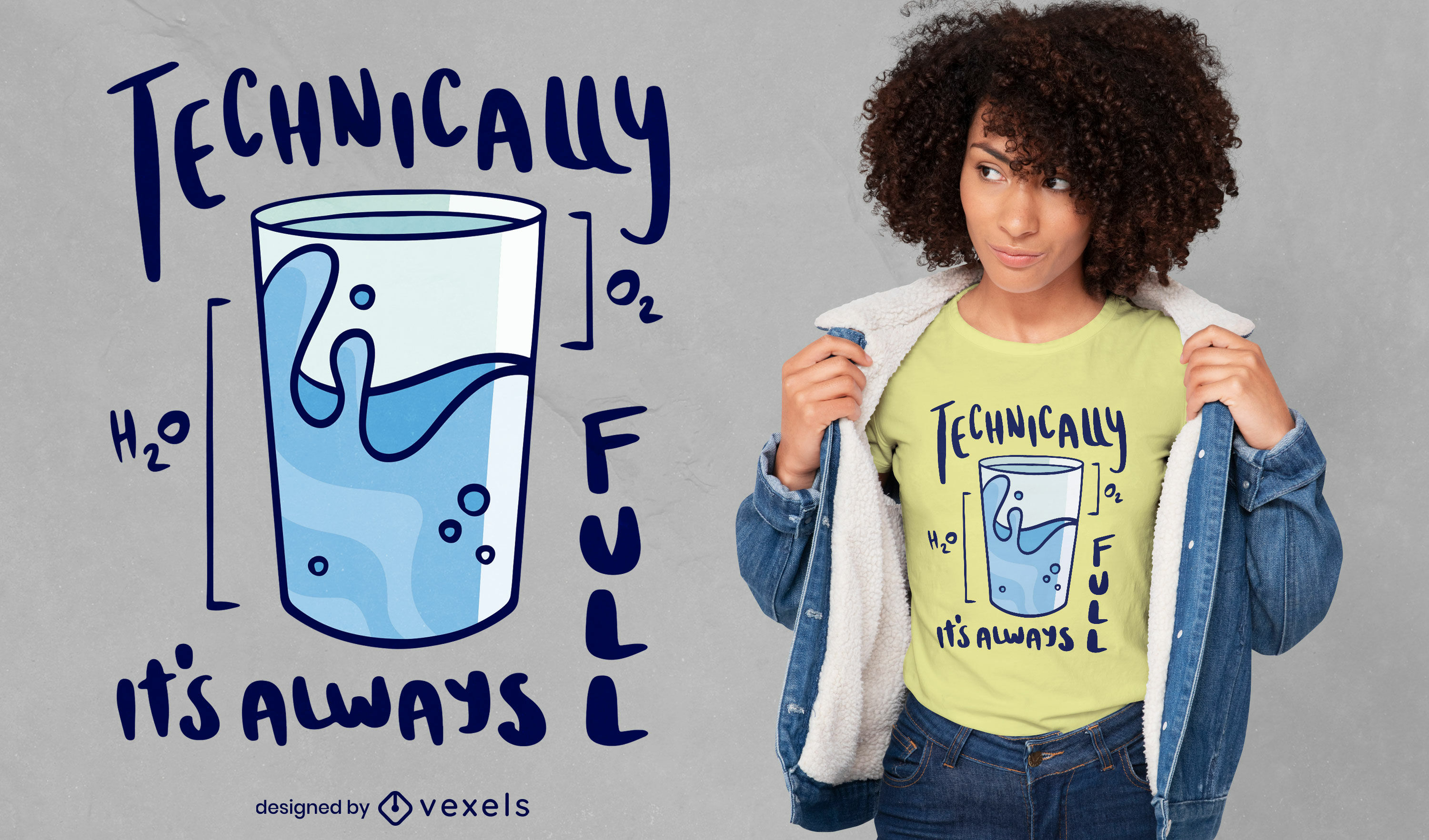 Glass of water funny t-shirt design