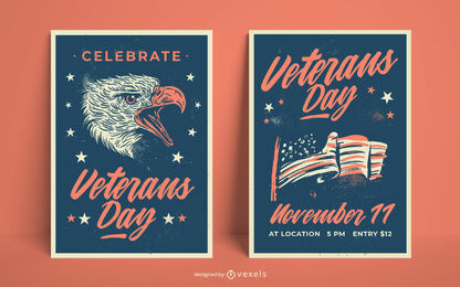 Veterans day holiday poster template
