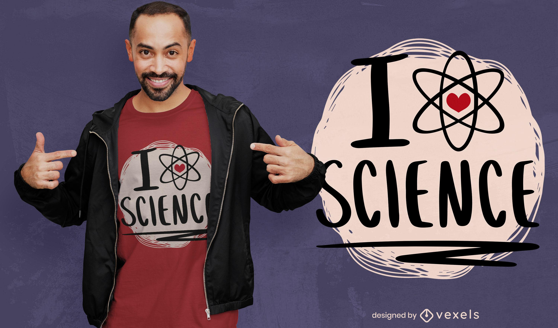Diseño de camiseta de símbolo de átomo de amor de ciencia