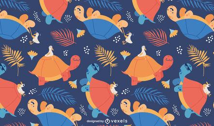 Land turtle animals pattern design