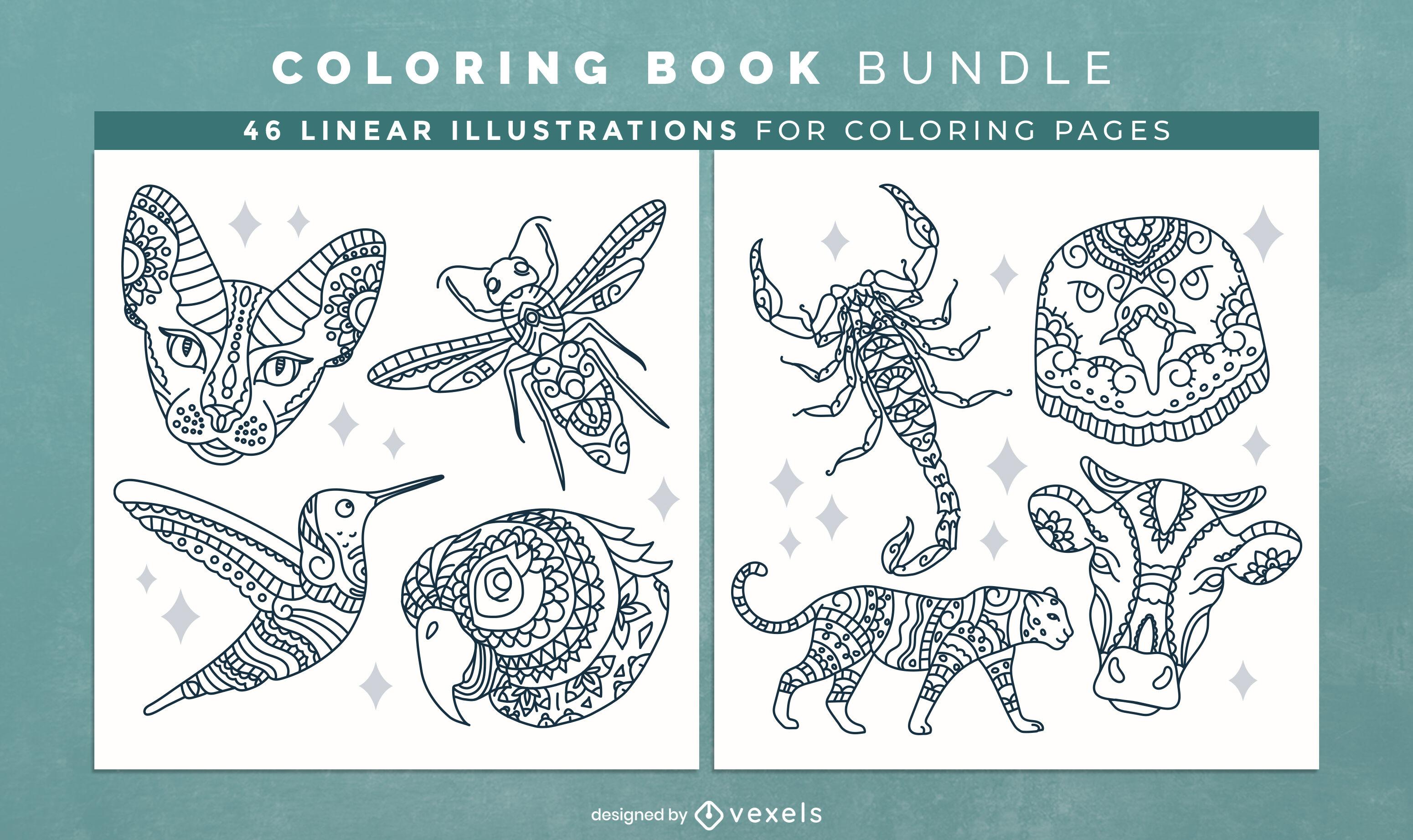Design de interiores de livro para colorir de mandala de animais