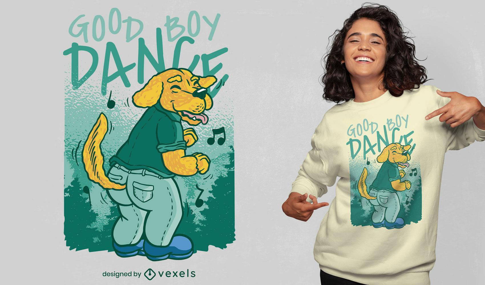 Dise?o de camiseta de dibujos animados de perro bailando