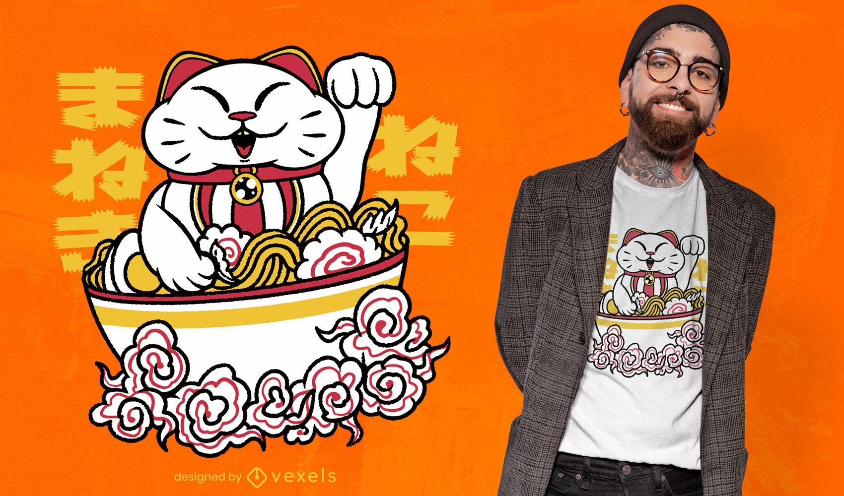 Gato da sorte com design de t-shirt de ramen para comida