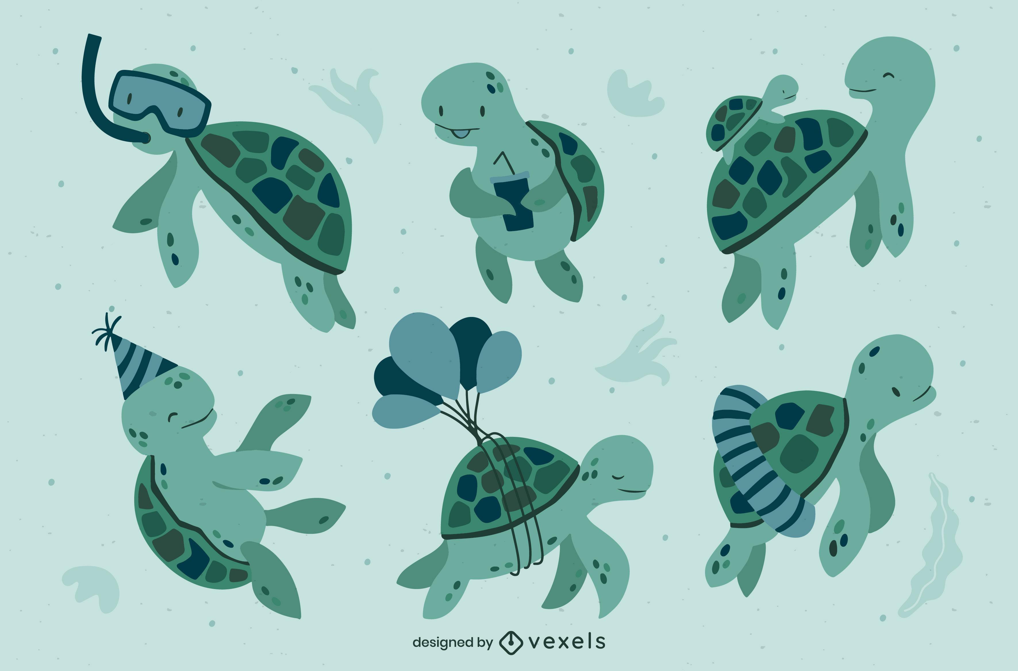 Sea turtles cute animals swimming set