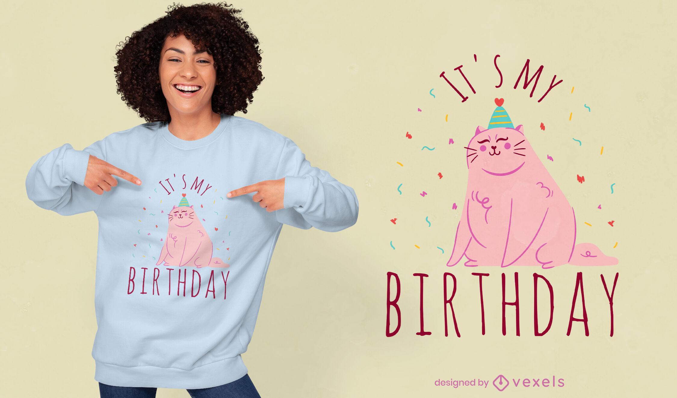 Diseño lindo de la camiseta del animal del gato del cumpleaños