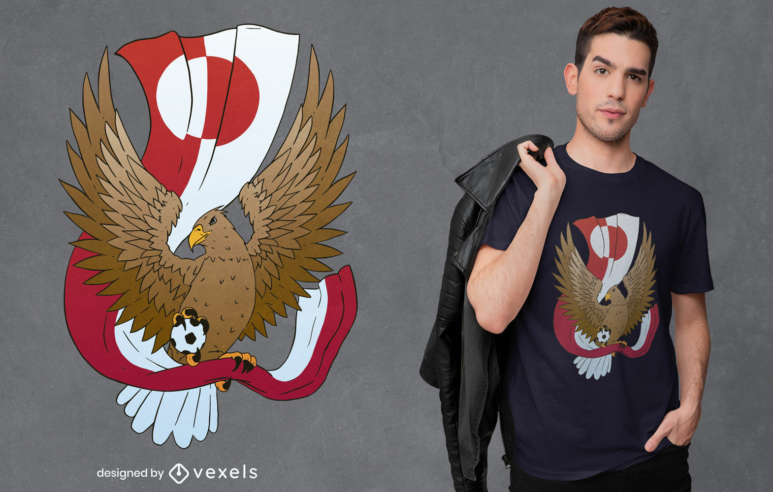 Greenland flag with eagle t-shirt design