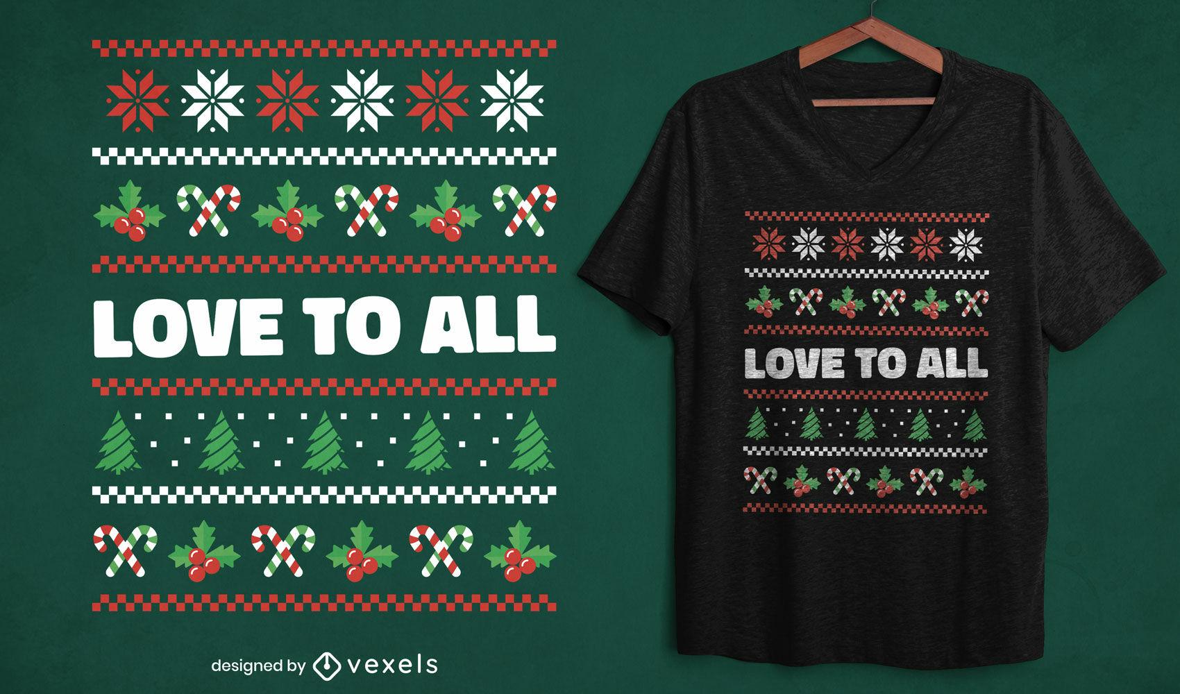 Diseño de camiseta de suéter feo de cita navideña