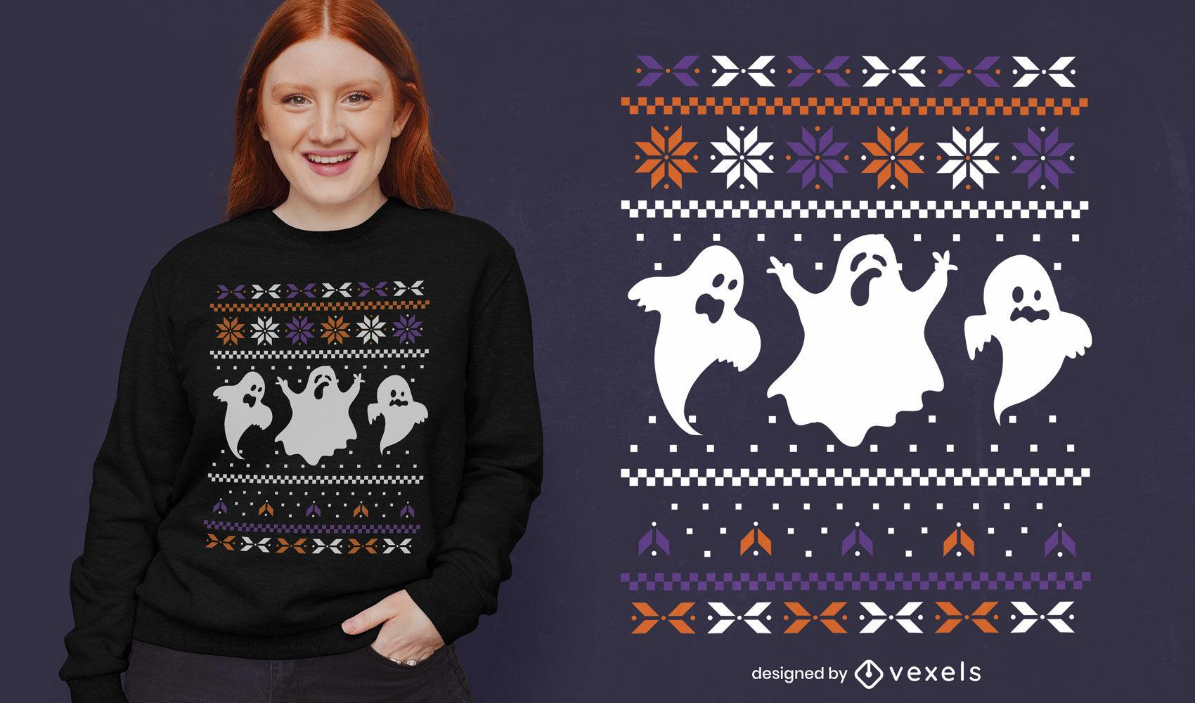 Design de t-shirt de suéter feio de fantasmas de halloween