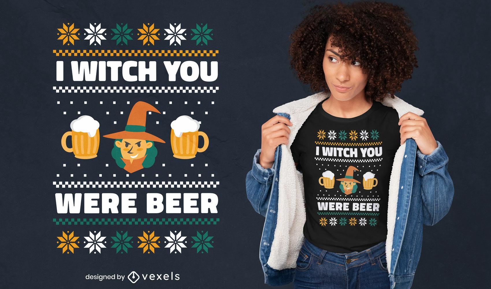 Desenho de camiseta feia de suéter para bruxa e cerveja