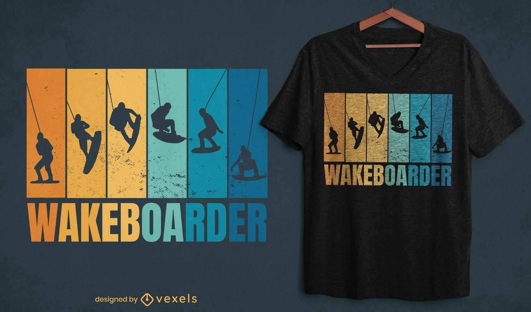 Diseño de camiseta retro de siluetas de wakeboard.