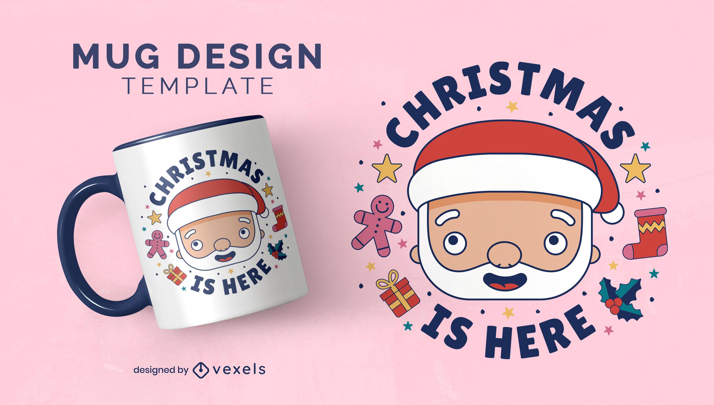 Dise?o de taza de navidad de dibujos animados de santa claus