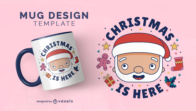 Santa claus cartoon christmas mug design
