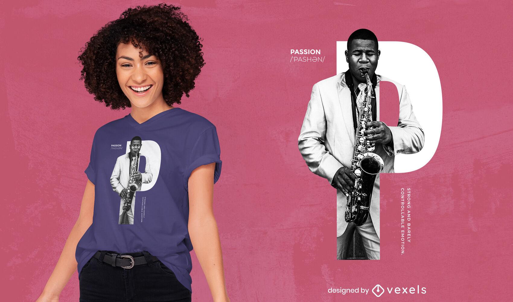 Diseño de camiseta psd saxofón hombre pasión