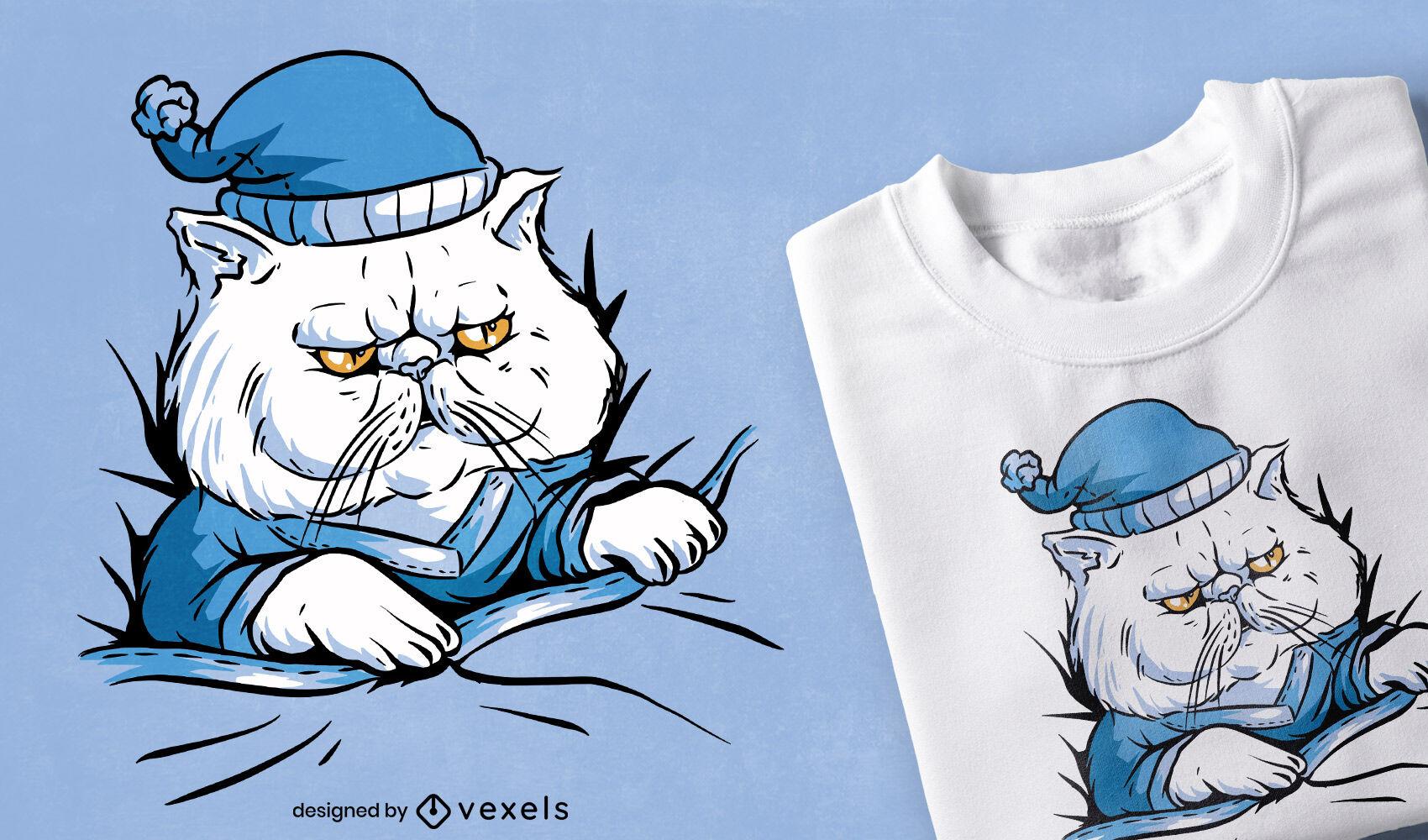 Animal gato soñoliento en diseño de camiseta de pijama