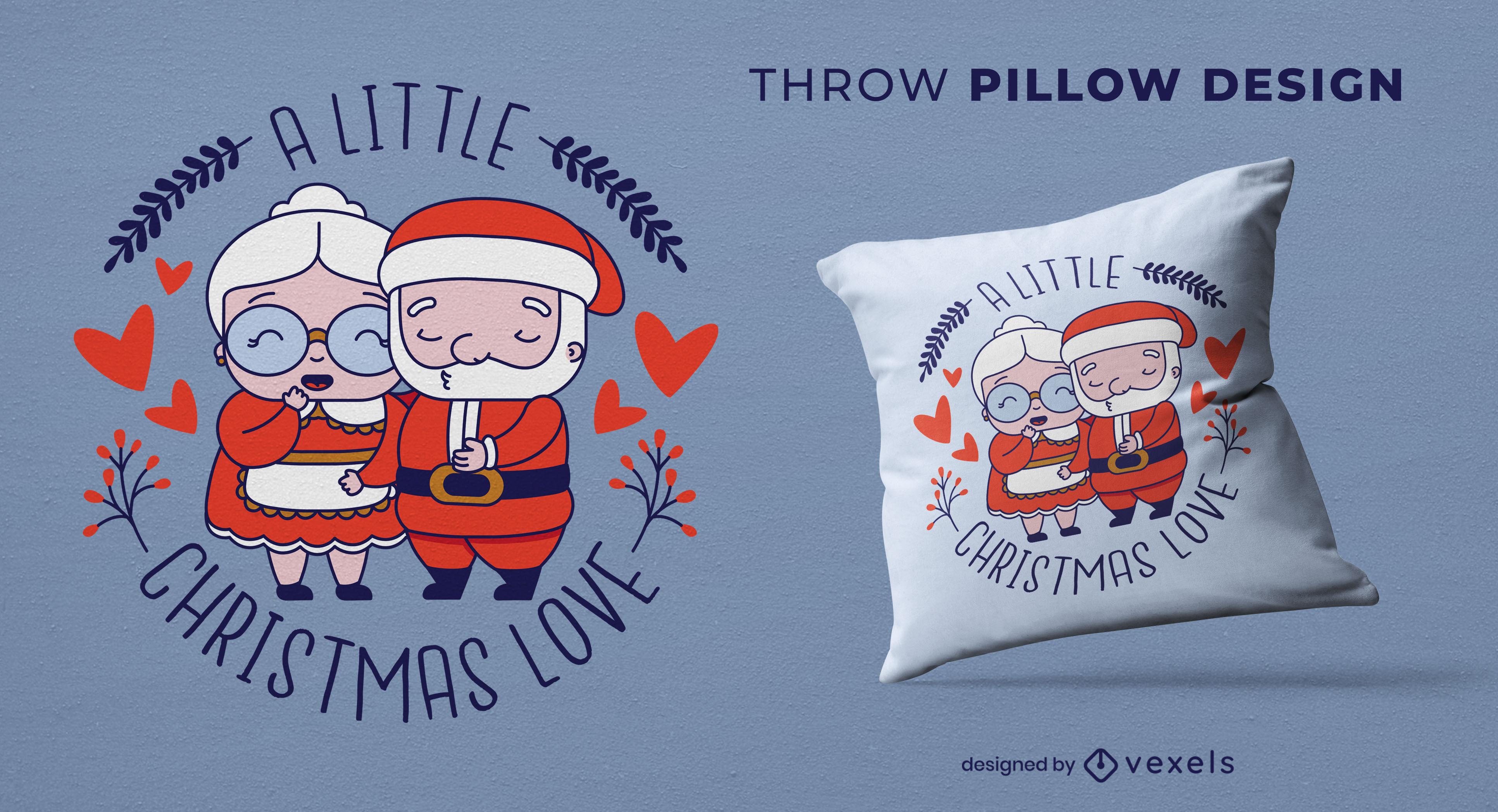 Christmas santa claus couple throw pillow design