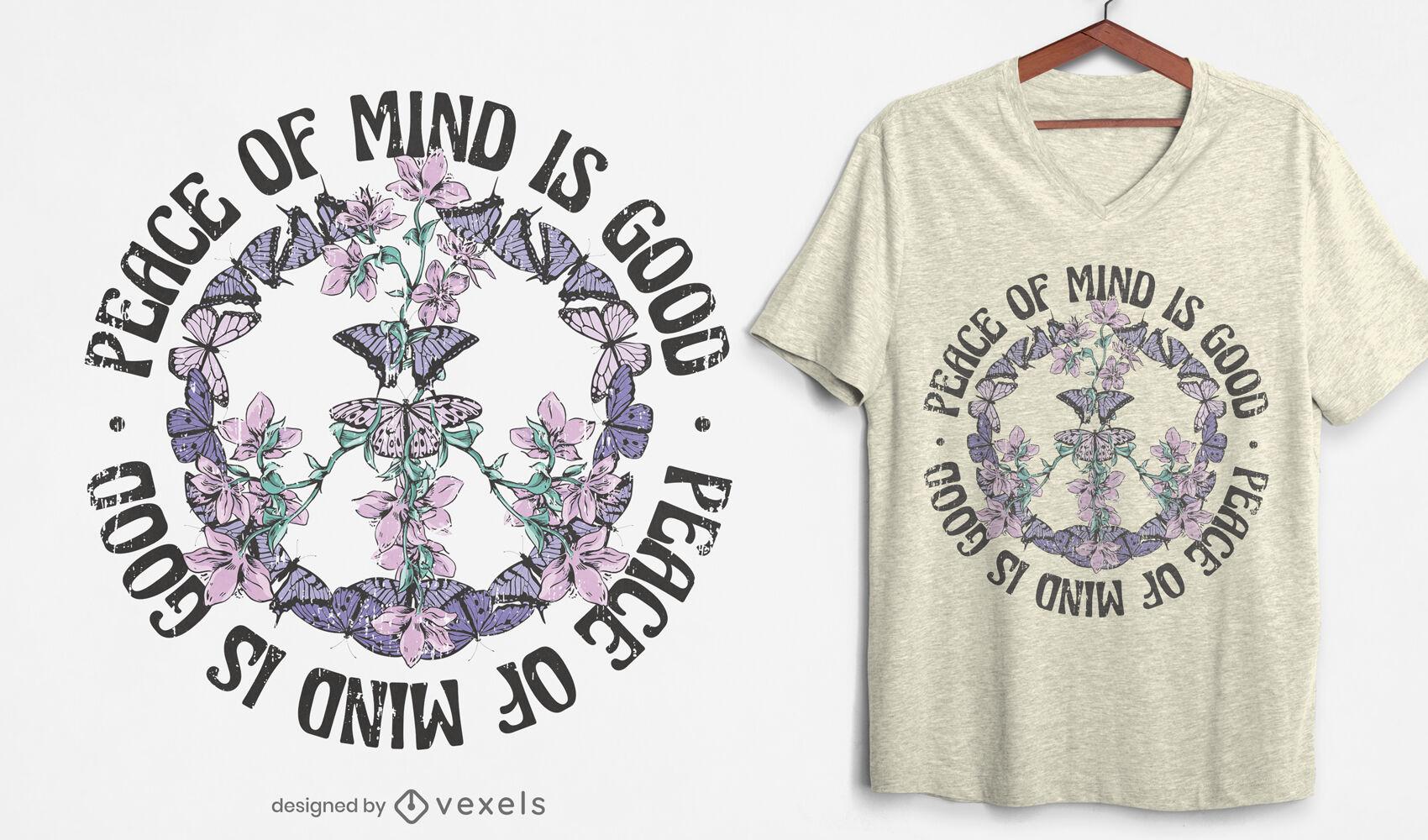 Diseño de camiseta de naturaleza de signo de paz de mariposa.