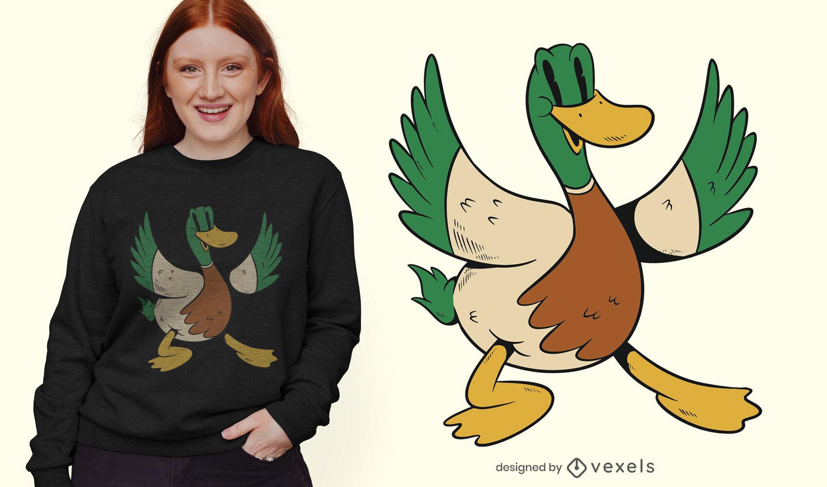 Diseño de camiseta de dibujos animados de animales de pato.
