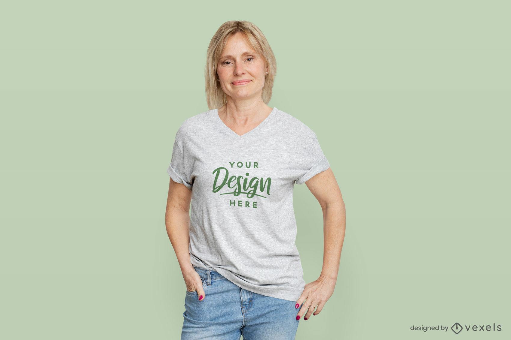 Female model white t-shirt flat background mockup