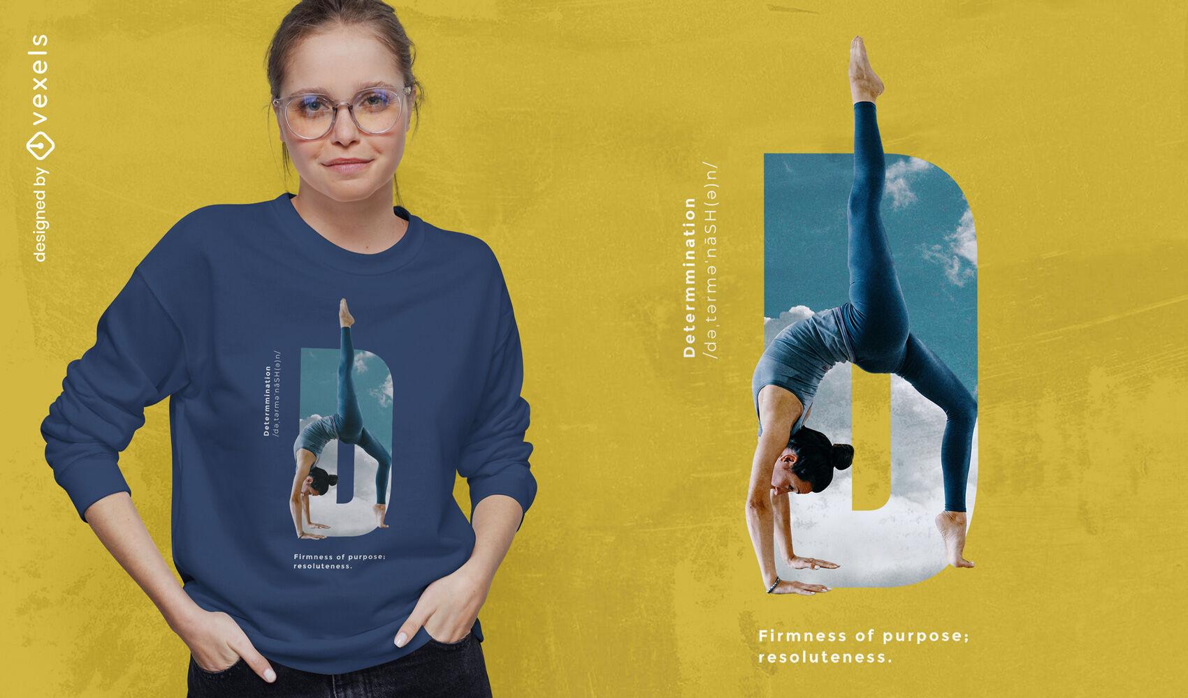 Design de camiseta psd de determinação de postura de ioga