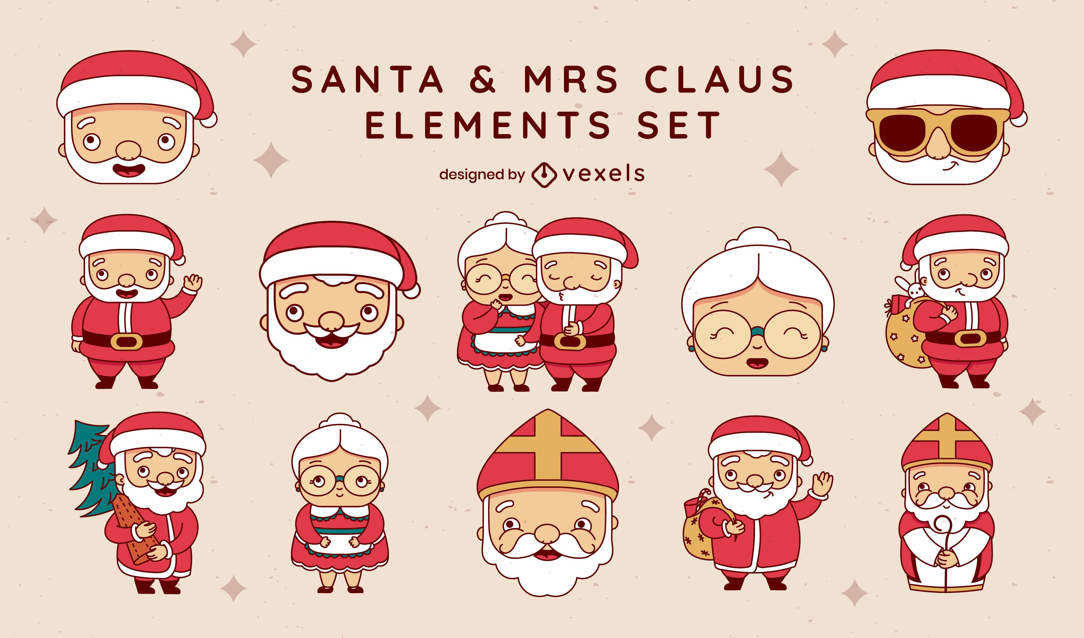 Santa and mrs claus christmas character set