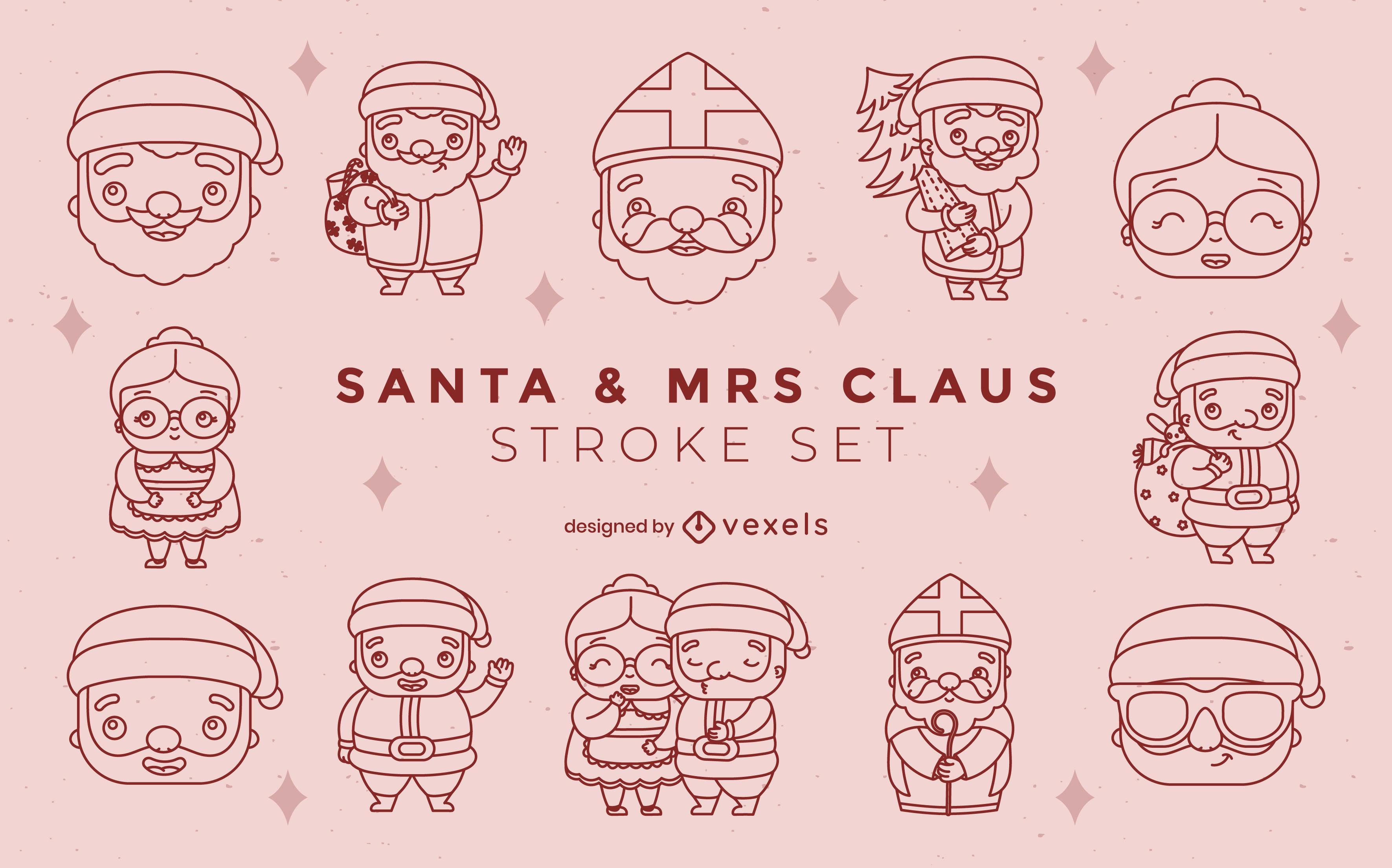 Conjunto de trazos de personajes de santa navidad