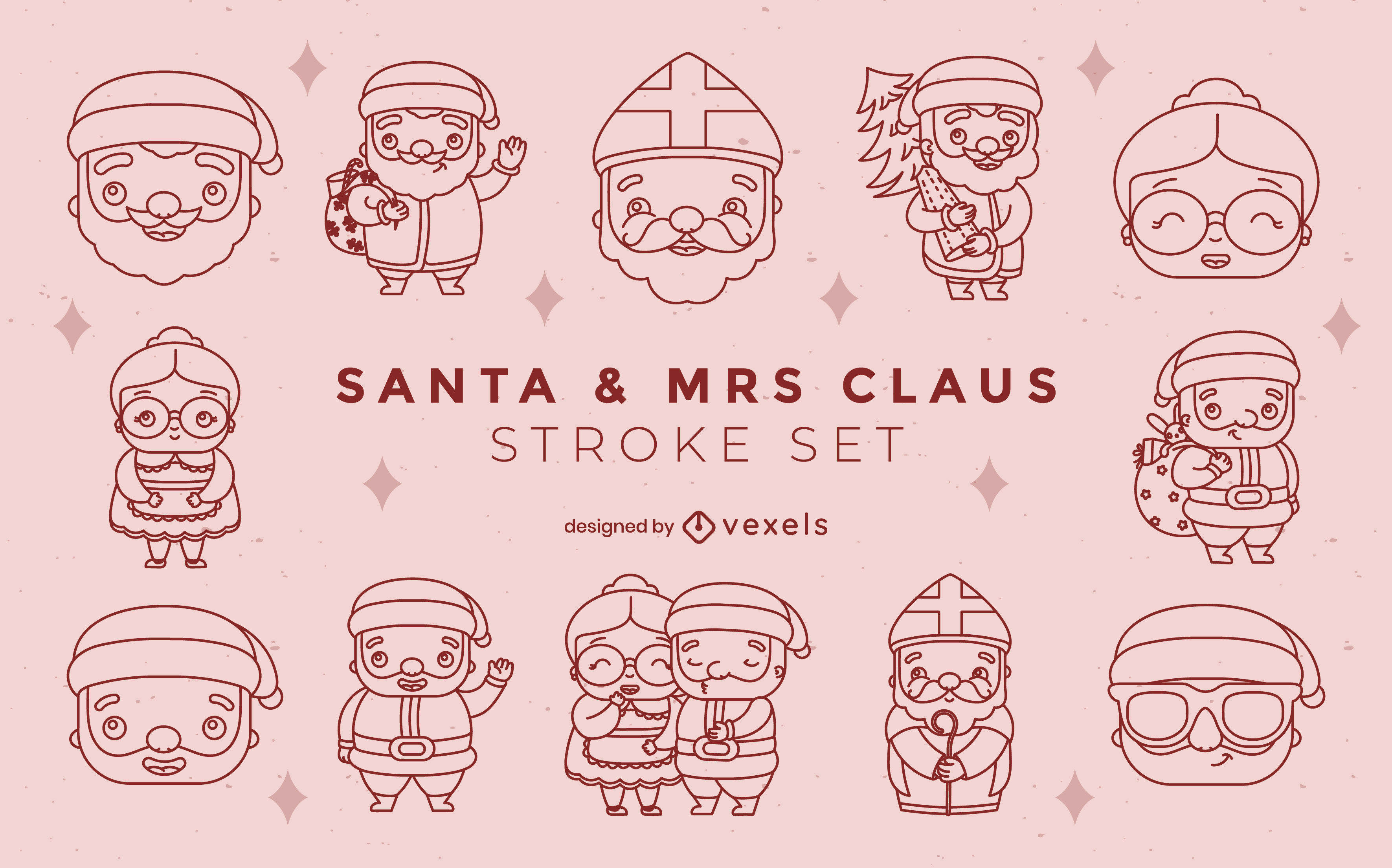 Weihnachtsmann-Zeichensatz-Zeichensatz