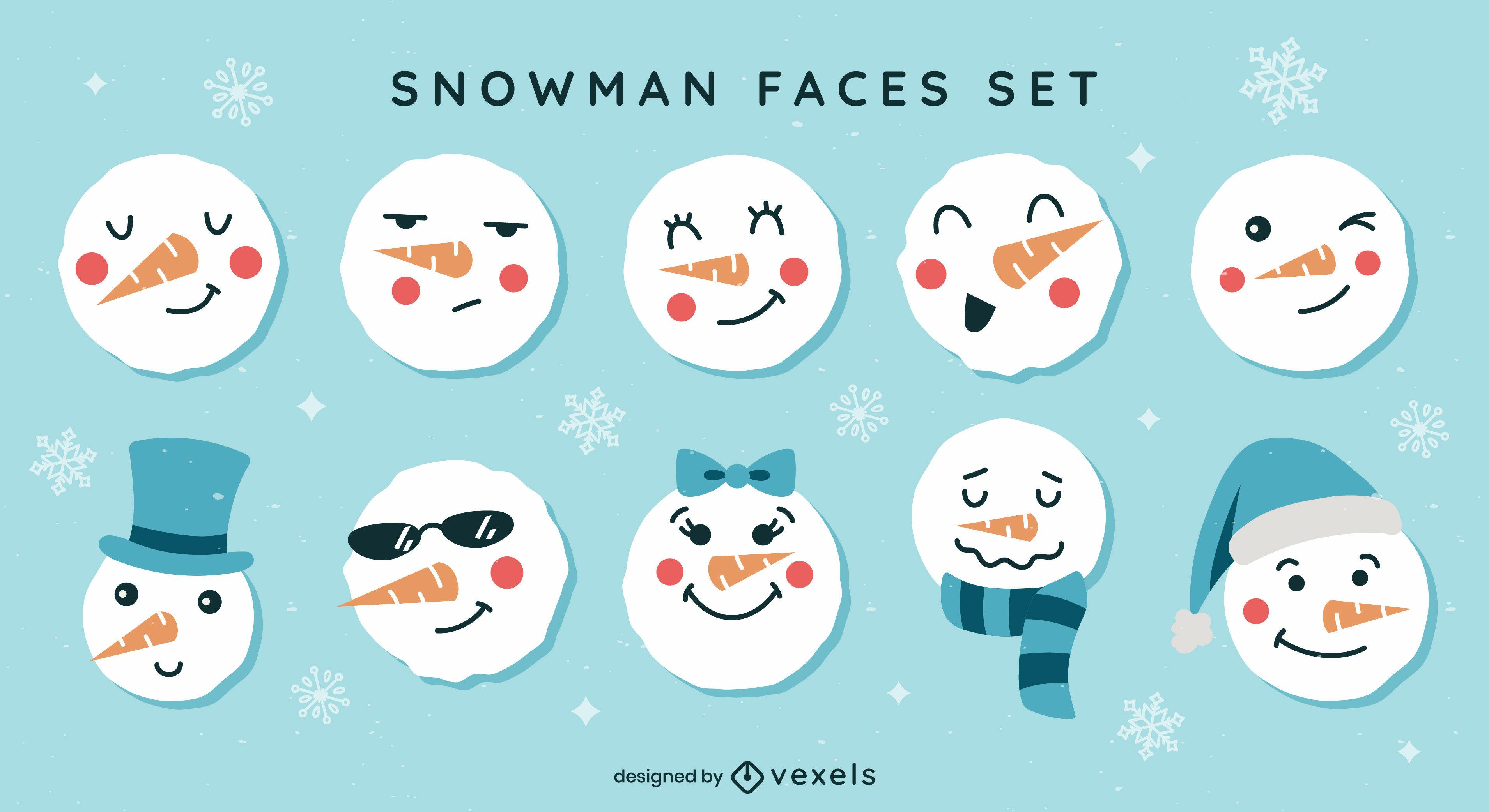 Conjunto de rostos de emoji de boneco de neve fofos