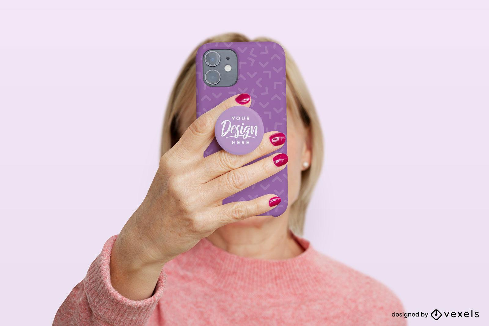 Woman with purple popsocket mockup
