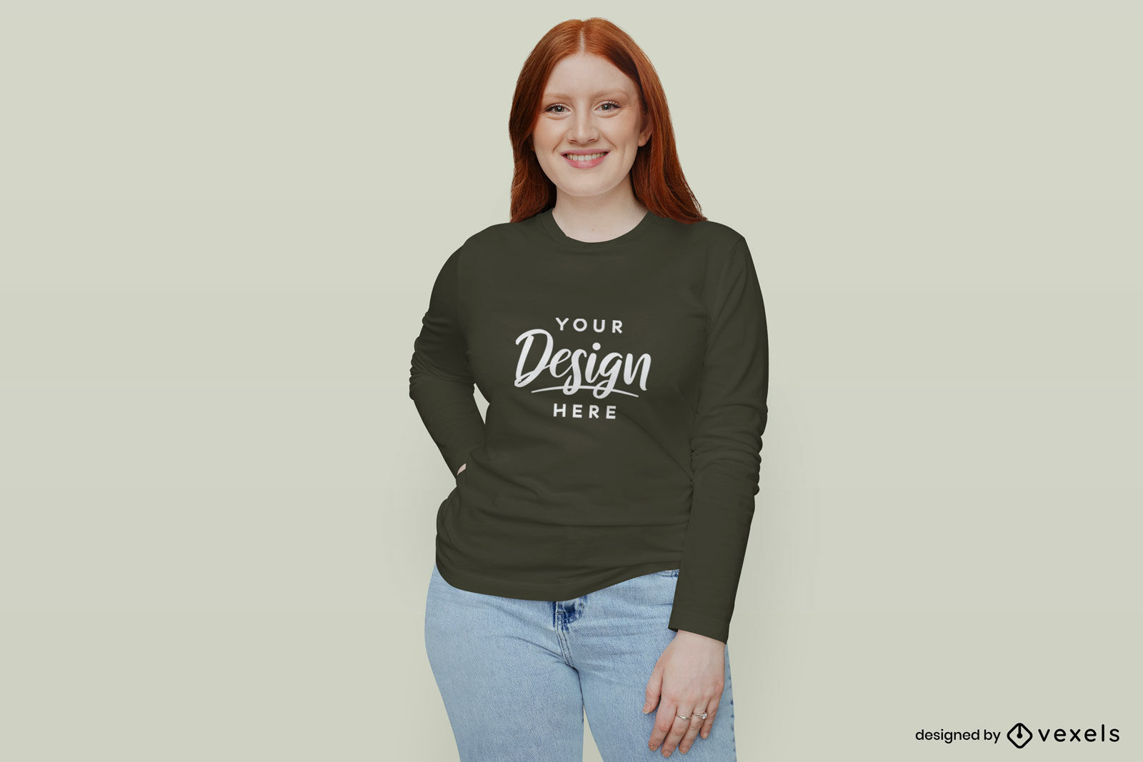 Garota em maquete de camiseta preta de manga comprida plano de fundo