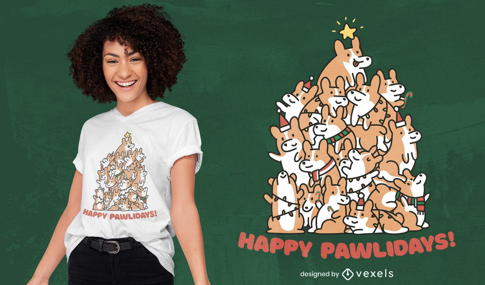 Design de camiseta com árvore de Natal para cachorro Corgi
