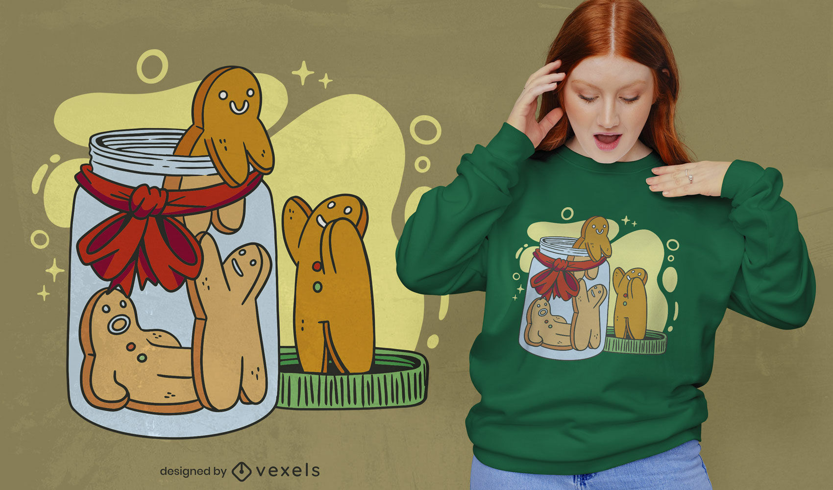 Galletas de hombre de jengibre en diseño de camiseta de tarro