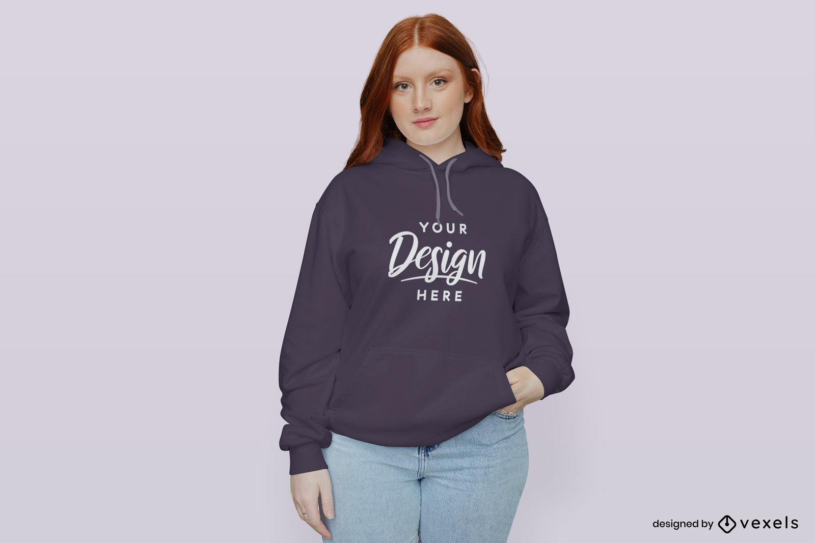 Girl in purple hoodie mockup flat background