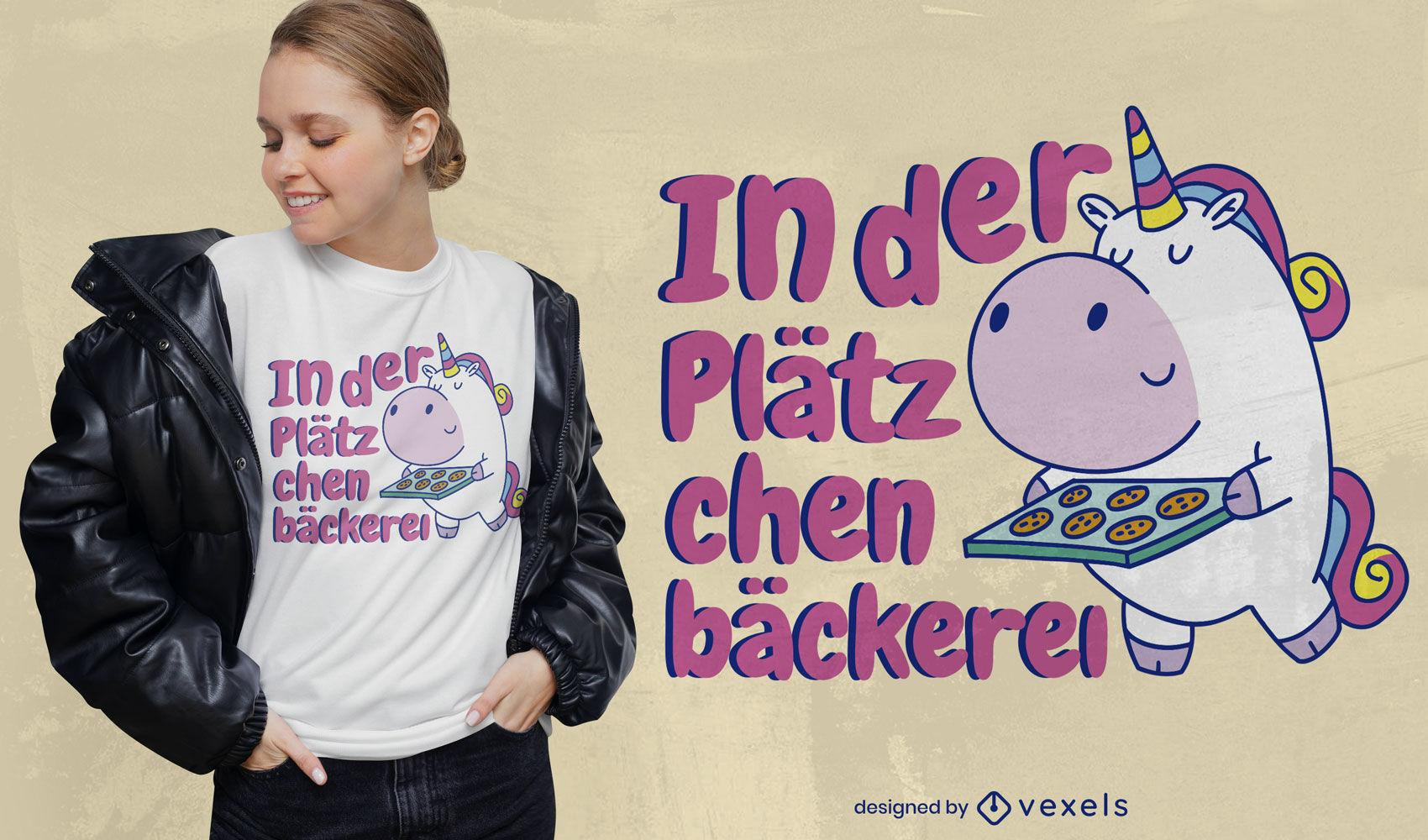 Design de t-shirt de biscoitos assando unicórnio