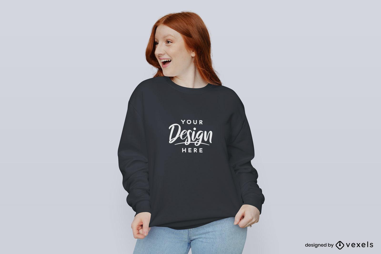 M?dchen im flachen Hintergrund des schwarzen Sweatshirtmodells