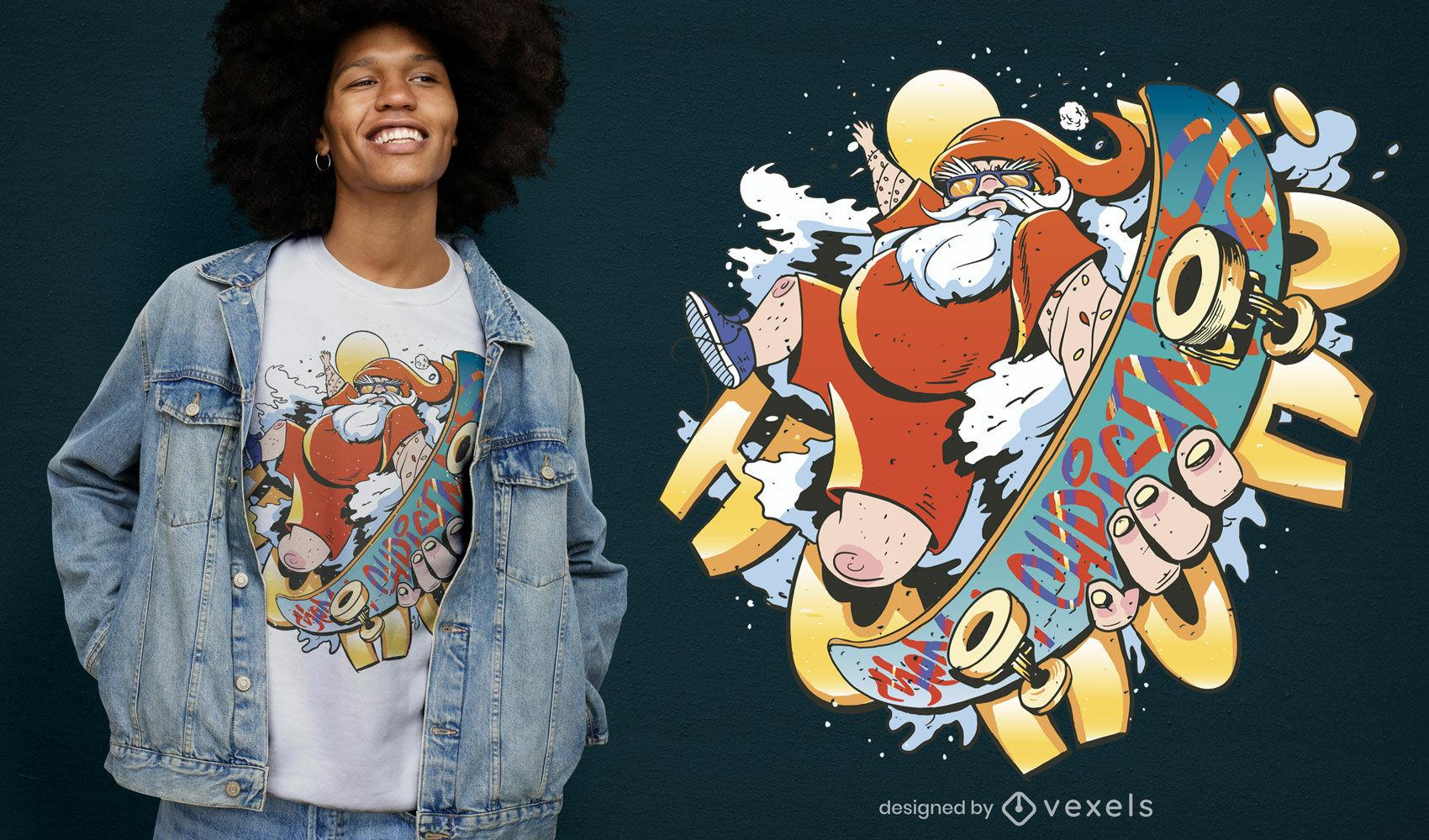 Diseño de camiseta de skate de Santa Claus