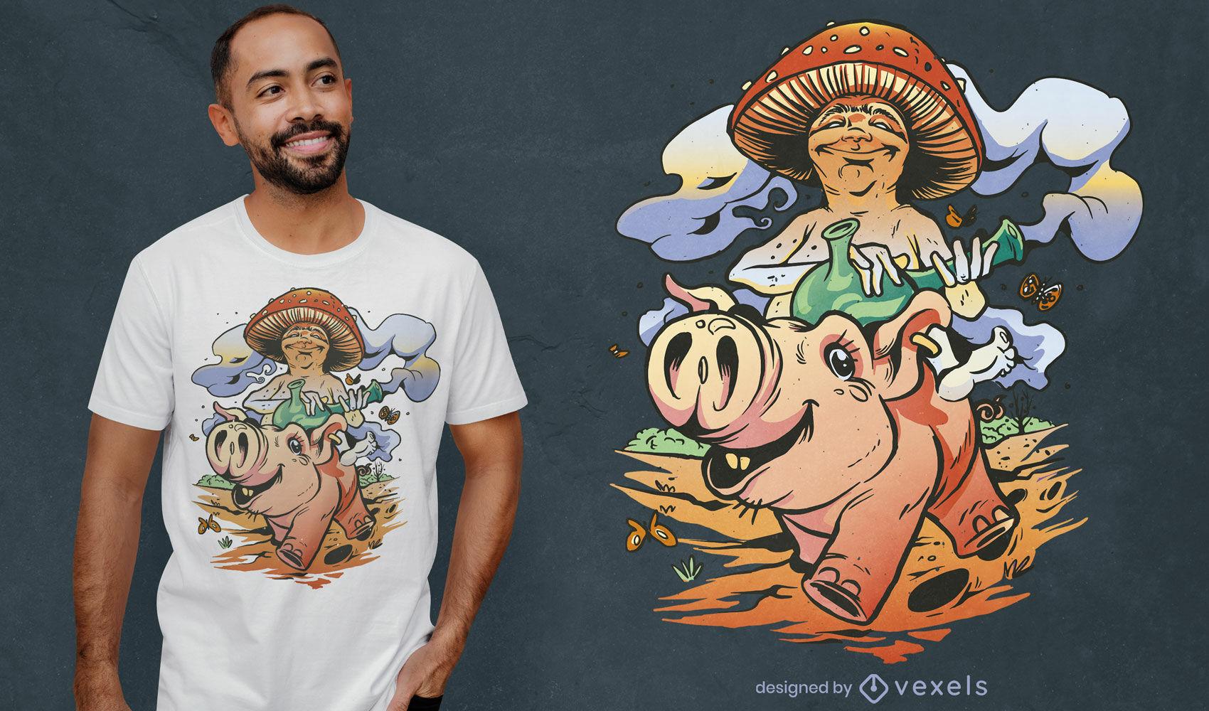 Cogumelo em desenho de camiseta de porco