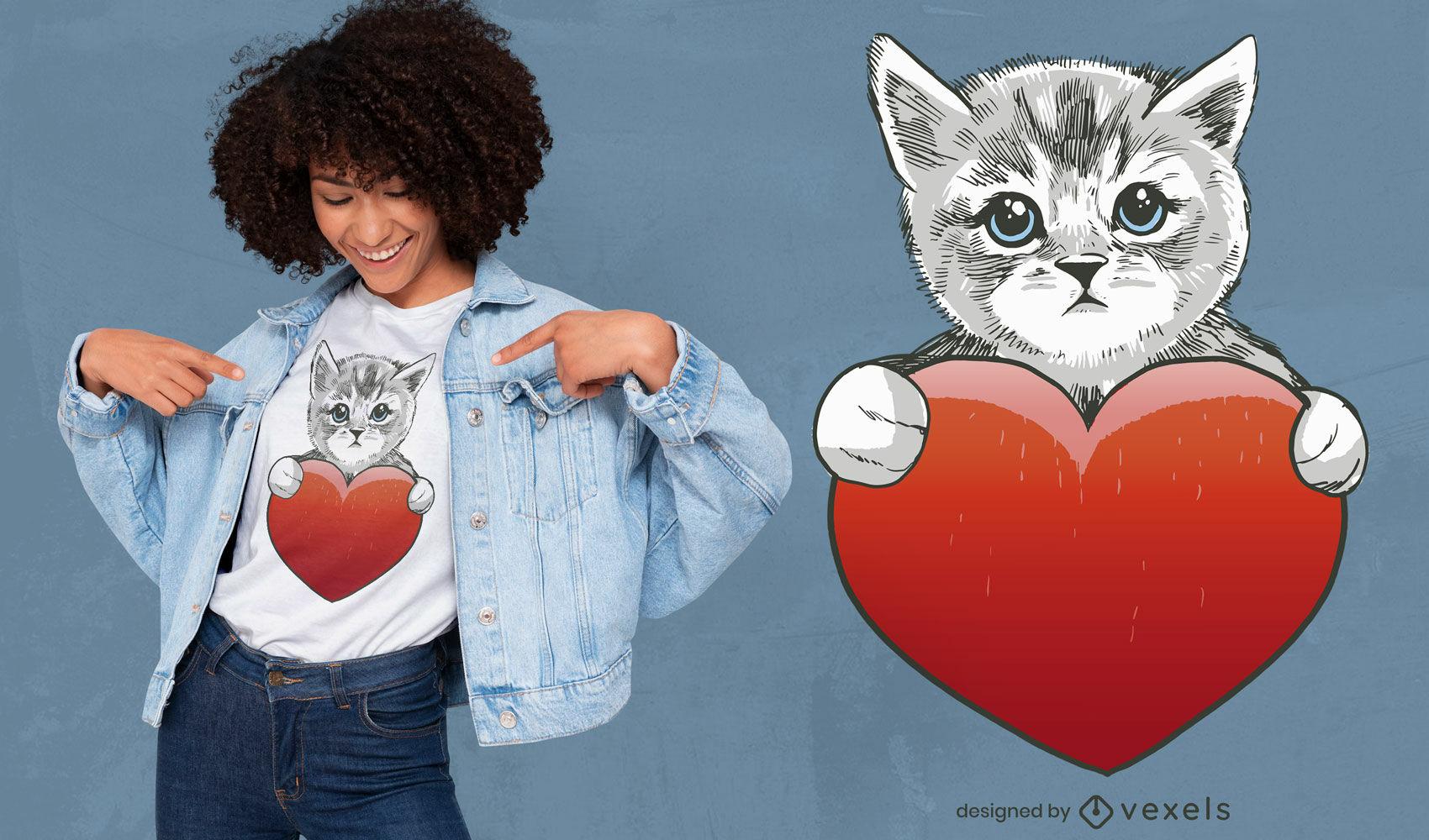 Lindo diseño de camiseta de gato y corazón.