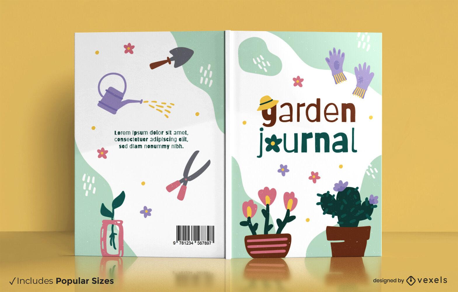 Design da capa do livro de elementos de jardinagem