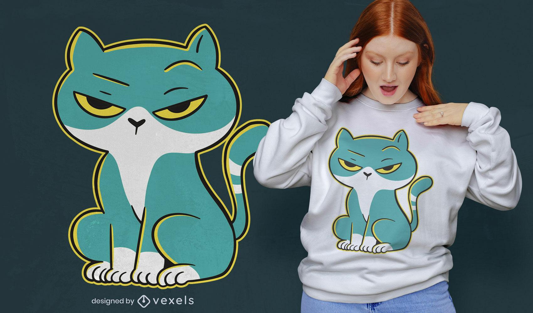 Diseño de camiseta de dibujos animados de gato serio