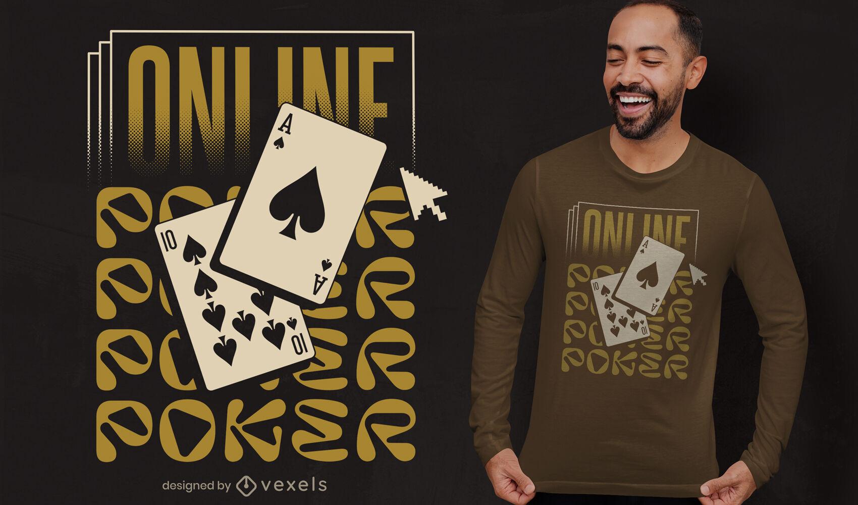 Diseño de camiseta de cartas de poker online.