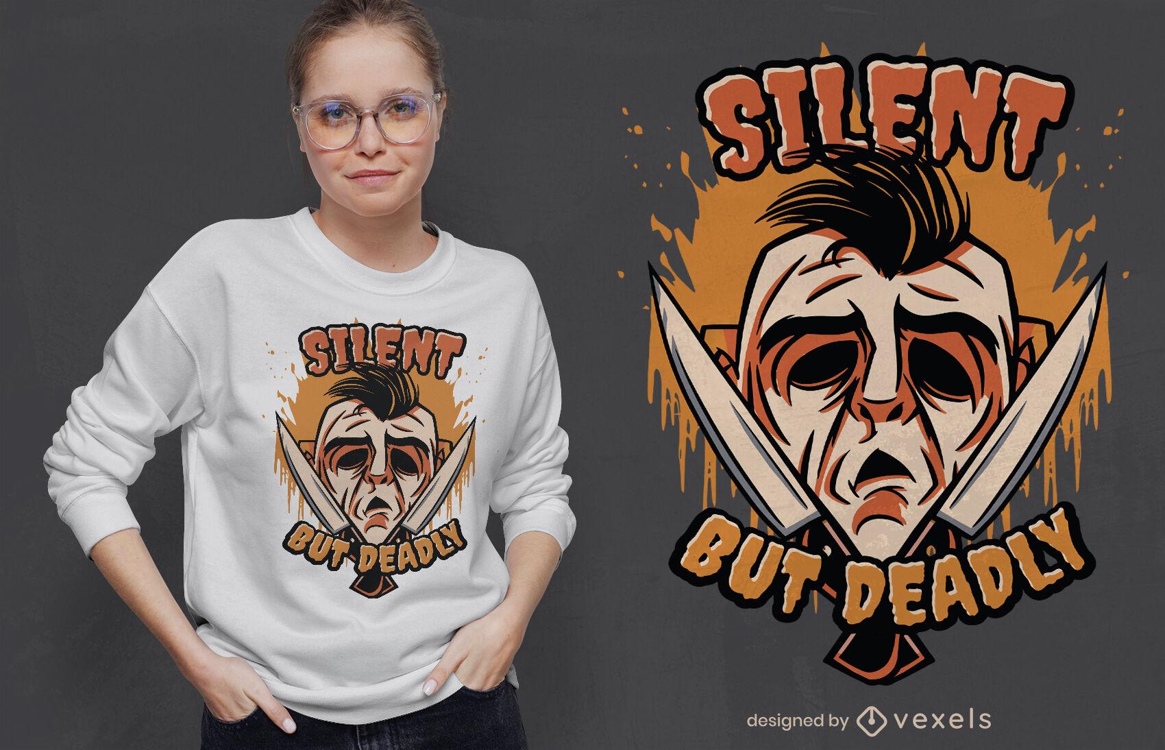 Design de t-shirt com máscara mortal para o Dia das Bruxas
