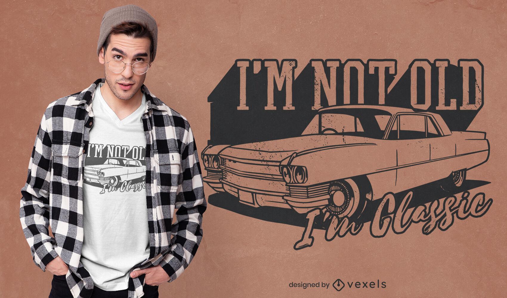 Design clássico de t-shirt com citações de carros antigos